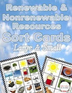 This collection contains color pictures for sorting renewable and nonrenewable resources. There are small cards as well as large sorting cards. These are great for utilizing higher level thinking skills (Bloom's Taxonomy). They can also be used in a center or put into pockets in Interactive Notebooks!