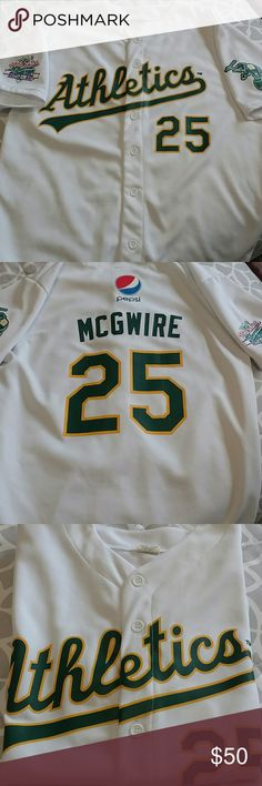 NEW! Athletics Mark McGwire 25 Jersey World Series Brand New!  Athletics Jersey Mark McGwire #25 (now MLB coach) World Series Battle of the Bay.  Got at the game in Oakland!!  Smoke free home.  Bundle & $ave! Authentic Wear Shirts