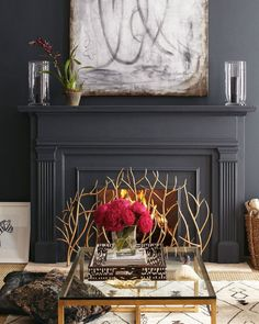 Golden Branch Fireplace Screen