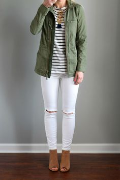 Madewell 'Fleet' Jacket  and Amour Vert 'Francoise' Nautical Long Sleeve Top