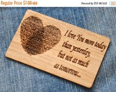 ON SALE Engraved wallet insert wooden card Personalized card Blessing greeting card  Valentines gift for him for her