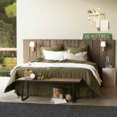 Tête de lit paravent Alam en manguier massif, Am.Pm. A faire soi même avec des planches et des appliques...