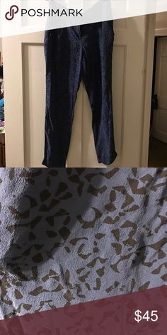 Theory Blue Leopard Silk Pants Gorgeous pants! Theory Pants Ankle & Cropped