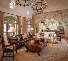 mediterranean style furniture decorating | Gorgeous Mediterranean Living Room Design Interior with Brown Leather ...