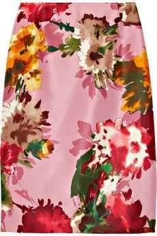 Oscar de la Renta for the Outnet floral-print silk twill pencil skirt