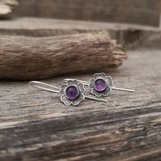 Amethyst Earrings, Minimalist Dangle Earrings, Sterling Silver Dainty Earrings, Silver Amethyst Flower Earrings, Spring Primula Earrings