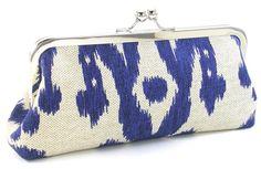 Blue Ikat Clutch Handbag - Cobalt  Metal Frame Purse - Linen Boho Bag - Great shop on Etsy! BagBoy