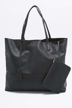 Slouchy Vegan Leather Tote Bag