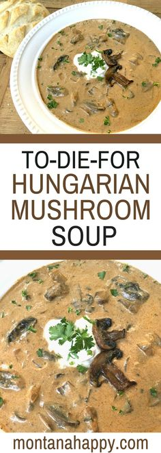 Rustic Hungarian Mushroom Soup - You will LOVE this soup. Look at the comments. #soup #mushroom #recipe