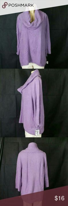 """Style & Company Turtleneck Women's Sweater Style & Company petite turtleneck sweater, size Small (0X), pull over styling, long sleeves,  generous sizing, color Purple, measure's 16"""" shoulder to shoulder, 16"""" chest is 18"""" long at the front side, 30"""" long on the back side with 21"""" sleeves, $29.99 retail ri e value, comes new with re-tag as closeout item in good cosmetic conditions, no rips or stains ready to enjoy. Style & Co Sweaters Cowl & Turtlenecks"""