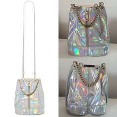 "HOLOGRAPHIC NASTY GAL RARE Tote/Shoulder Bag New and never worn! Sold-out and super rare ""Use Your Illusion"" Holographic Nasty Gal tote bag.  MAKE ME AN OFFER!  Brand new condition and comes stuffed with original paper and strap inside the bag. Bag was only opened once to ensure the strap is inside and to snap a photo to share. Dimensions 7.5""width x 9""height x 7.5"" depth Nasty Gal Bags Totes"