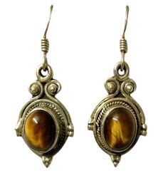 Cabochon Oval Tigers Eye Studded Designed Hoop Earring On 925 Sterling Silver #Articulate #Hoop