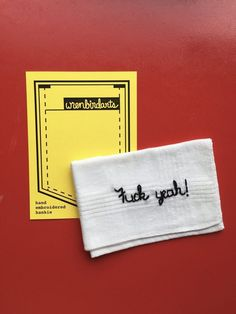 Funny Embroidered Fuck Yeah Handkerchief by wrenbirdarts