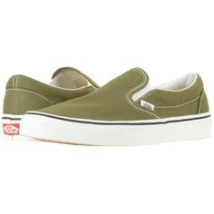 Vans Classic Slip-On (Winter Moss/True White) Skate Shoes ($50) ❤ liked on Polyvore featuring shoes, sneakers, slip on skate shoes, boat shoes, white leather sneakers, white slip on sneakers and leather sneakers
