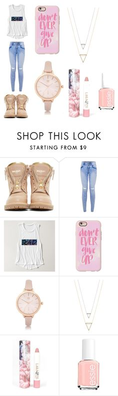"""""""Untitled #9"""" by ana-spatacean on Polyvore featuring Balmain, Casetify, River Island, LAQA & Co., Essie and StreetStyle"""