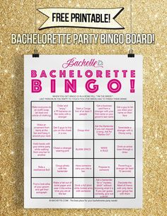 """If you're bar-crawling for the bachelorette, you'll love this fun printable bachelorette party game idea! The bride can wear this around her neck and complete bingo tasks while out at the bar! When she gets a bingo (5 in a row) she yells """"I'M THE BRIDE"""" and the last person in the party to touch her has to finish their drink! It's quite a good time and towards the end things definitely get a little fuzzy! :D IMPOSSIBLY SIMPLE DIRECTIONS: Simply print the pdf HERE, gl..."""