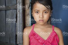 Asian girl living in poverty royalty-free stock photo