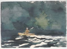 Winslow Homer - Paddling at dusk (1892) Watercolor with graphite on wove paper