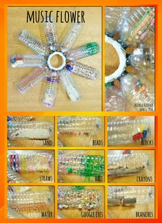 Water Bottles: Fill With Noise Makers, Decorate With Permanent Makers, Glue  (gun