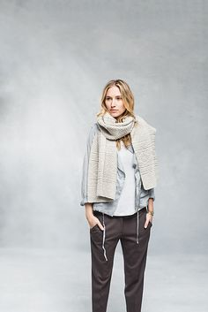 Wrap yourself in airy warmth with a geometric stole inspired by seamen's ganseys. While the original garments were densely knit enough to be nearly waterproof, Ludlow uses two delicate strands of Loft on a large needle for a feather-light fabric and heightened stitch definition. Worked from end to end with basic techniques, this wrap is accessible to beginning knitters as well as veterans who want a project that's easy to pick up and put down. Knit and purl stitches create reversible blocks…