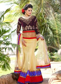 EXOTIC SELLERS!!  Awsome Cream And Red Patch Border Work Net Bridal Lengha Choli  Product Order http://www.usarees.in/lehenga-choli/beautiful-cream-and-brown-embroidery-work-velvet-designer-lengha-choli-2484  Call or Whatsapp : +919377152141 NOW GOT IT!!
