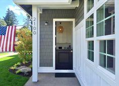 ideas for farmhouse exterior lighting benjamin moore Exterior Front Doors, Grey Exterior, House Paint Exterior, Exterior Siding, Cottage Exterior, Exterior Colors, Barn Lighting, Exterior Lighting, Garage Door Lights