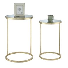 Gold Coast Round Nesting Mirror End Tables - Convenience Concepts : Target
