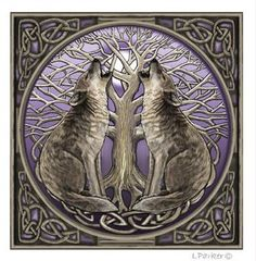 """White wolves"" -- Celtic wolves baying at a full moon behind the Celtic Tree of Life.  I like."