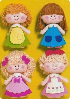 Bonequinhas de Feltro #sew #dolls #patterns