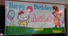 Hello Kitty Birthday Banner personalized with photo. Cute!!