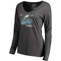 Women's NFL Pro Line by Fanatics Branded Heather Charcoal Philadelphia Eagles Super Bowl LII Champions Trophy Collection Locker Room Long Sleeve V-Neck T-Shirt