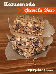 Homemade Granola Bars - 3.13, Made these and while they taste delicious (so much yummier and healthier than any packaged kind) I think they need more of the honey. I will be more careful in my measurements of ingredients next time and use more honey. I did use semisweet choc chips and walnuts and they do taste good. Will try again.
