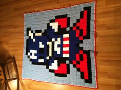 Finally finished my 8-bit Captain America Crochet Blanket. #Marvel #Superhero