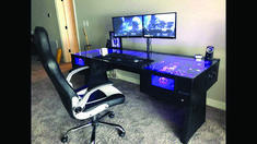 21 Best DIY Computer Desk Ideas for Home Office Inspiration - Dıy Desk Table Ideen Custom Pc Desk, Custom Computer Desk, Built In Computer Desk, Gaming Computer Desk, Diy Computer Desk, Computer Build, Diy Desk, Pc Built Into Desk, Gaming Pc Inside Desk