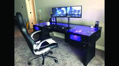 21 Best DIY Computer Desk Ideas for Home Office Inspiration - Dıy Desk Table Ideen Custom Pc Desk, Built In Computer Desk, Custom Gaming Computer, Gaming Computer Desk, Diy Computer Desk, Computer Build, Diy Desk, Pc Built Into Desk, Building A Computer Desk