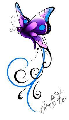 Christines butterfly Tattoo by Kuragarikurasu on DeviantArt - Christine's . - Christines butterfly Tattoo by Kuragarikurasu on DeviantArt – Christine's … – Christines bu - Butterfly Drawing, Butterfly Tattoo Designs, Butterfly Wallpaper, Butterfly Design, Purple Butterfly Tattoo, Butterfly Quotes, Neue Tattoos, Body Art Tattoos, Tattoos Skull