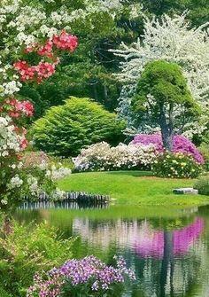 fabulous backyard garden pictures ideas ineffable garden ideas around deck ideas Beautiful Landscapes, Beautiful Gardens, Beautiful Flowers, Beautiful Places, Parks, Landscape Design, Garden Design, The Secret Garden, Garden Cottage