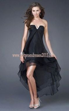 Black Layered High-Low Cocktail Dresses Cheap