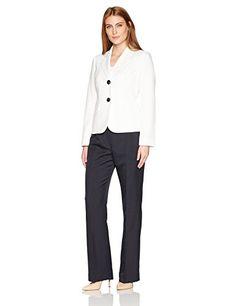 LeSuit Womens 2 Button Mini Stripe Pant Suit Business Suit Pants Set