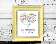 Our Honeymoon Heart Map Art Print, Custom Personalized Printable, DIGITAL FILE Wedding decor, Marriage, love