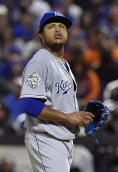 Kansas City Royals starting pitcher Edinson Volquez prepares to throw a pitch in the fourth inning during game five of the World Series on Sunday, November 1, 2015 at Citi Field in New York.