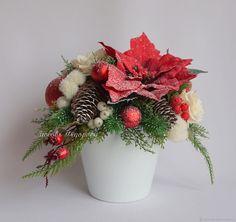 Купить Новогодняя композиция Метелица. Красный Белый в интернет магазине на Ярмарке Мастеров