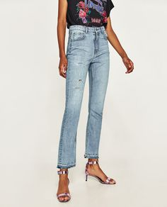 Image 2 of HIGH WAIST JEANS WITH SIDE SLITS from Zara