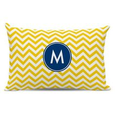 Boatman Geller Chevron Single Initial Cotton Lumbar Pillow Letter: V