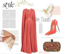 #eliesaab #dress #longdress #orange #kayra #scarf #clutch