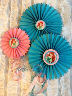 Little Mermaid Paper Rosettes, Princess centerpiece for Dessert Table or Candy Buffet at Mermaid, Ariel Birthday, CUSTOM Colors available