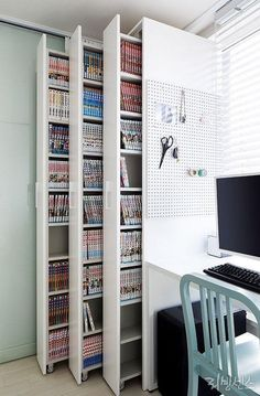 craft storage ideas for small spaces - craft storage ; craft storage ideas for small spaces ; Decor Room, Diy Home Decor, Bedroom Decor, Bedroom Storage, Closet Storage, Study Room Decor, Closet Shelves, Sliding Shelves, Bedroom Shelves
