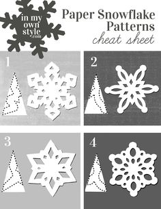 How to Make Paper Snowflakes & Ornaments Using Doilies Keep this paper snowflake making pattern cheat sheet handy when you want to make festive snowflakes to decorate your home for the holidays. Paper Snowflakes Easy, Paper Snowflake Template, Paper Snowflake Patterns, Snowflake Craft, Snowflake Origami, How To Make Snowflakes, Snowflake Cutouts, Diy Snowflake Decorations, Frozen Decorations