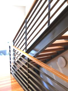 Wood Railing/Metal Slats with Open Stairs on a 2 Track Metal Beam