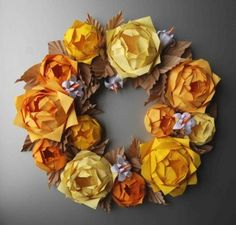 Items similar to Yellow Rose Origami Paper Wreath, Thanksgiving Holiday Fall Wreath on Etsy Origami Wreath, Origami And Quilling, Origami Paper, Origami Decoration, Etsy Wreaths, Wreaths And Garlands, 12 Roses, Thanksgiving Wreaths, Faux Flowers